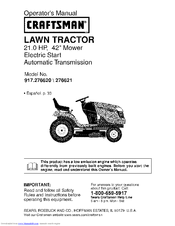 Craftsman 917.276620 Operator's Manual