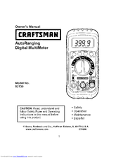 craftsman 82139 manuals rh manualslib com Craftsman Multimeter Voltage for AC Craftsman Autoranging Multimeter