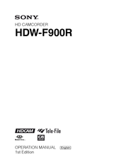Sony HDW F900R - CineAlta Camcorder - 1080p Operation Manual