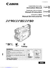 CANON ZR80 INSTRUCTION MANUAL Pdf Download