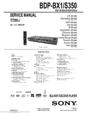 SONY Blue ray Disc  BDP-S350 Service Manual