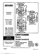 Craftsman 315 175040 Owner S Manual Pdf
