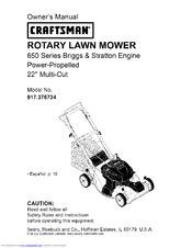 craftsman 650 series lawn mower owners manual
