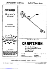 CRAFTSMAN 358.798270-32ce Important Important Manual