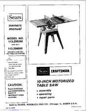 Craftsman 113 298340 Owner S Manual Pdf Download Manualslib