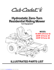 CUB CADET 18.5HP Z-FORCE 42 ILLUSTRATED PARTS LIST Pdf Download. on
