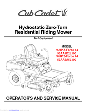 CUB CADET 15HP Z-FORCE 44 53AA5D2L100 OPERATOR'S AND SERVICE