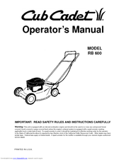 CUB CADET SC2450 OPERATOR'S MANUAL Pdf Download