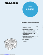 Sharp AR-F151 Facsimile Operation Manual
