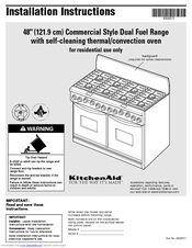 KitchenAid KDRP487MSS01 Installation Instructions Manual