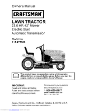 craftsman 917 275520 owner s manual pdf download rh manualslib com Craftsman 42 Mower Owners Manual 917 259567 Craftsman 42 Mower Owners Manual 917 259567