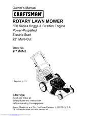 craftsman 917 376742 owner s manual pdf download rh manualslib com craftsman briggs stratton lawn mower 650 series manual Sears Craftsman Riding Lawn Mower