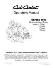 CUB CADET LT1042 OPERATOR'S MANUAL Pdf Download