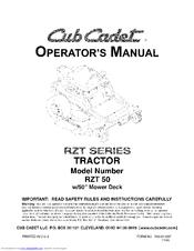 CUB CADET RZT 50 OPERATOR'S MANUAL Pdf Download