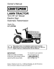 craftsman 917 275760 owner s manual pdf download rh manualslib com Craftsman Lawn Mower Manual PDF craftsman lawn tractor lt 2000 owners manual