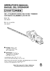 CRAFTSMAN 138. 99017 Operator's Manual