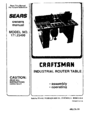 CRAFTSMAN 171.25490 Owner's Manual