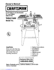 craftsman table saw owner s manual pdf download rh manualslib com Craftsman Table Saw Manual 242420 Craftsman 10 Table Saw Manual Model 315228400