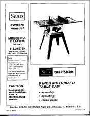 craftsman 113 242720 owner s manual pdf download rh manualslib com Craftsman Table Saw Extensions sears craftsman 10 table saw instruction owners manual
