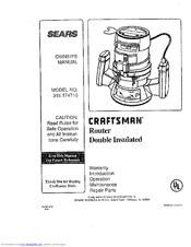 craftsman 315 174710 manuals rh manualslib com Sears Craftsman Router Table Manual Craftsman Router Owner's Manual