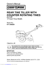 craftsman 917 296030 manuals rh manualslib com craftsman rear tine tiller parts craftsman 14 rear tine tiller manual