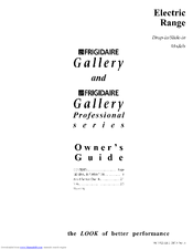 Frigidaire Gallery Professional Series Owner's Manual
