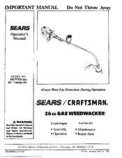 CRAFTSMAN WEEDWACKER 358 797121 OPERATOR'S MANUAL Pdf Download