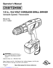 CRAFTSMAN 315.114850 Operator's Manual