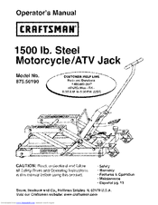 CRAFTSMAN 875.50190 Operator's Manual