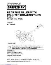 craftsman 917 294482 manuals rh manualslib com craftsman 208cc rear tine tiller manual sears rear tine tiller manual