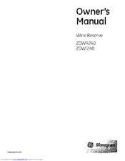 GE Monogram ZDWI240 Owner's Manual