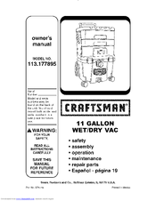 CRAFTSMAN 113.177895 Owner's Manual