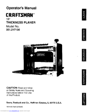 craftsman 351 217130 manuals rh manualslib com craftsman thickness planer manual craftsman 13 planer manual