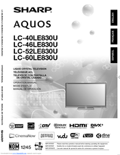 sharp aquos lc 40le830u operation manual pdf download rh manualslib com Sharp AQUOS Troubleshoot Sharp AQUOS 60 Inch TV