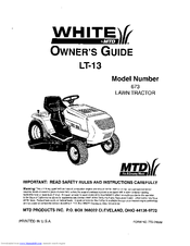 Mtd White LT-13 Manuals | ManualsLib | White Tractor Lt 13 Wiring Diagram |  | ManualsLib