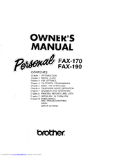 brother personal fax 190 owner s manual pdf download