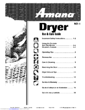 amana ndg8805aww manuals rh manualslib com Amana Appliances amana dryer owners manual
