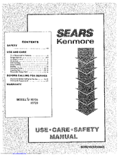 Kenmore 911.93725 Use Use, Care, Safety Manual