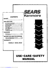 Kenmore 95649 Use Use, Care, Safety Manual