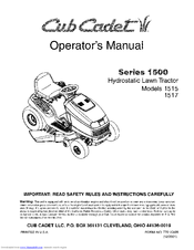 CUB CADET SERIES 1500 1515 OPERATOR'S MANUAL Pdf Download