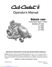 Cub Cadet Series 1000 Lt1050 Manuals Manualslib