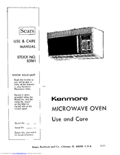 Kenmore 85941 Use & Care Manual