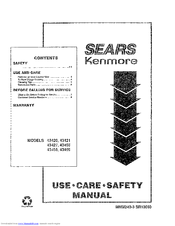 Kenmore 43420 Use Use, Care, Safety Manual