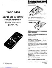 Technics Sa 350 service manual
