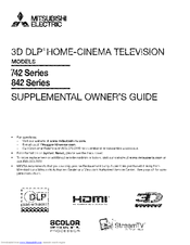 Mitsubishi Electric 3D DLP 742 Series Owner's Manual