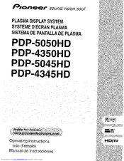 Pioneer PDP-4345HD Operating Instructions Manual