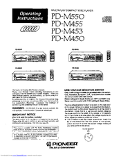 Pioneer PD-M453 Important Notice