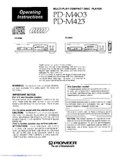 Pioneer PD-M403 Operating Instructions Manual