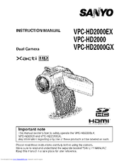 Sanyo Xacti HD VPC-HD2000EX Instruction Manual