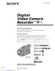 Sony DCR-TRV40 Operating Instructions Manual